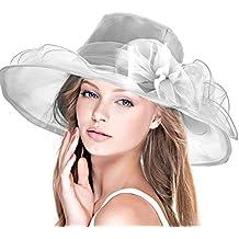 Dafunna Sombrero De Sol Kentucky Derby Organza De Flores Plegable De ala  Ancha Mujer para Iglesia 25db73de1b8
