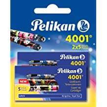 Pelikan 4001 F 5-2B - Cartuchos de tinta para pluma (2 unidades x 5 piezas, gran capacidad), color azul