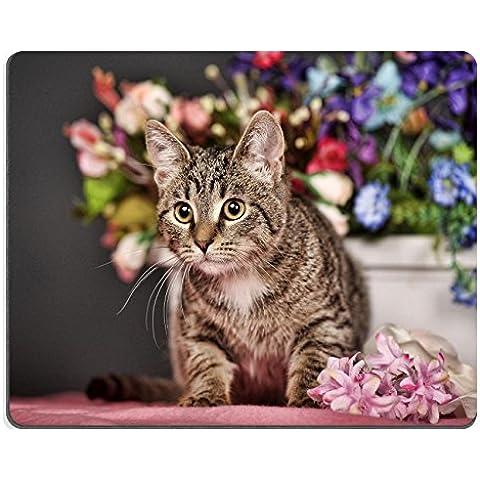 MSD-Tappetino per mouse in gomma naturale, gioco ID 35094874: immagine di gatto soriano in studio e fiori