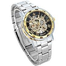 GuTe clásico de oro de acero de color negro para hombre de la mano de Viento mecánico esqueleto reloj de pulsera