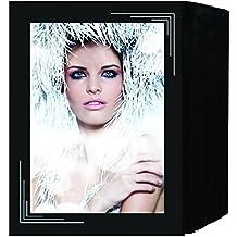 Daiber–Rollo de cinta de espacios para fotos, cartulina fotográfica estructura de lino ángulo derecho superior y izquierda inferior para formato de imagen, 13x 18cm, 125unidades), color negro/plata