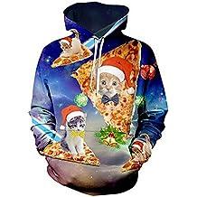 Navidad con capucha, Chicolife hombres Unisex puente lazo impreso 3D divertido gato gráfico Jersey camisas Santa sudaderas bolsillos Xms con capucha S-XXL