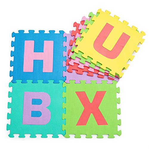 *Hochwertige BPA-Freie Puzzlematte mit 26 Spielmatten mit Buchstaben von A-Z, robuster Kinder-Spielteppich, kälteisolierende Spielmatte, Schaumstoffmatte mit Schall-Dämmung, Spielpolster, gegen kalte Böden und Fußbodenkälte. Als Krabbelmatte zum Toben, pädagogische Spieldecke.*