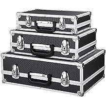 iKayaa - 3Uds Cajas de Almacenaje Multiusos con Cerradura,Duradero para la Seguridad,Color Negro