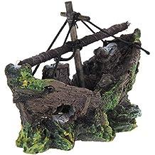 Ornamento Acuario - SODIAL(R) Barco de Pesca del Ornamento del Acuario Decoracion Para Fish Tank, 100% Sguro para la Dcoracion de Tanque de Pez
