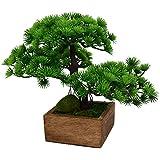 Fancy Mart Artificial Plant Tropical Bonsai in Square Wooden Pot, 11-inch (Green, Thefancymart-AP-1735)
