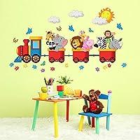R00125 Adesivo murale per bambini Wall Art - Animaletti viaggiatori - Misure 120x30 cm - Decorazione parete, adesivi per muro, carta da parati