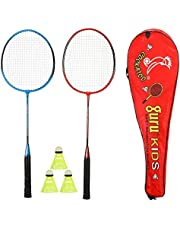 Cockatoo Economy Badminton Set, Pack of Two Racquet with 3 Shuttle & Cover, Size 27 Inch