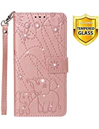 Boloker Case for Xiaomi Redmi Note 5A / 5A Prime [with Tempered Glass Screen Protector], [Kickstand] Retro Flip Case Elegant Vintage Diamond Design PU Leather Protective Case (Pink)