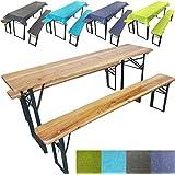 Pack-ahorro mesa de jardín: Mesa 177 x 45 x 76 cm + 2 bancos de 177 x 25 x 46 cm + Mantelería a juego (incluye mantel + 2 cojines para banco), Sin mantelería (sólamente mesa + 2 bancos)