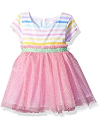 Youngland Baby Girls Striped Knit to Mesh Fashion Dress