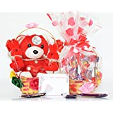 Holy Krishna Dairy milk Small Chocalate-Basket with 3 Soft Toy in Decorative Flower Basket with Message Card Laxmi Atm-Card - Pack of 8