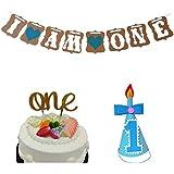 """3 In 1 First Birthday Celebration Kit, Lovely Baby Boy First Birthday Cake Topper -""""One""""- Decoration & First Birthday..."""