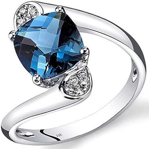 Revoni-Bracciale in oro bianco, 14 carati, con topazio blu Londra a taglio cuscino e diamanti anello, 2,33 ct - Taglio Cuscino Diamante