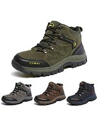 J&T Zapatos de Senderismo Para Hombre Resistente Al Agua Botas de Senderismo Deportes Exterior Boats Escalada Sneakers Zapatillas de Senderismo Para Unisex Gris Verde Marrón Azul