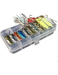 gossipboy 11pcs/set señuelo de pesca Kits juego de alambre cebo de pesca surtidos, Mixed Universal con pequeña caja–incluyendo 10pcs Opsariichthys–Cucharilla de pesca para agua dulce agua salada pesca