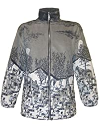Women's Double Fleece Grey Moonlight Print Animal Print Jacket with Pockets S-XXL