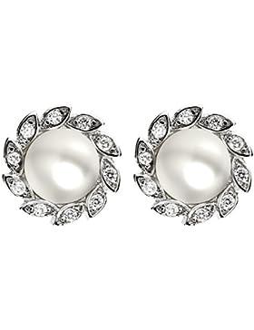 MYA art Ohrringe Perlenohrringe Ohrstecker 925 Sterling Silber Blumen Perlen mit Zirkonia Strass Steine Weiß Perle...