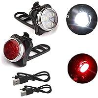 Faros delanteros, Sannysis USB Recargable 3 LED Luz de Bicicleta con presillas 2pcs kit de Impermeable linterna delantera Linterna LáMPARA para bicicletas bici (rojo y plata)