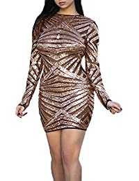 fc1a5702bc64 Donna Paillettes Vestito a Tubino Sexy Prospettiva Mini Abito da Discoteca  Club Rotondo Collo Manica Lunga Vestiti da Partito Festa…