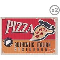 Balvi - Pizza set di 2 tovagliette americane. Grafica retro.