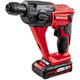 Einhell TE-HD 18 Li Kit - Martillo perforador sin cable, batería Power X-Change 1.5 Ah, 5700 rpm, luz LED, cargador rápido, maletín, 18 V, rojo