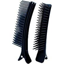 2 Pinzas Clip con púas a modo de cepillo, color negro