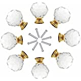 8 x 40mm JP Hardware Gold Clear Crystal Glass Door Knobs Drawer Cabinet Furniture Handles Drawer Pull Cabinet Dresser Handles Wardrobe Glass Knobs
