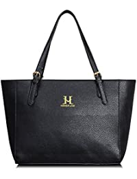 Women Pu Leather Handbag, Lightweighttop Handle Hobo Shopping Shoulder Tote Bag Black By Hikker-Link