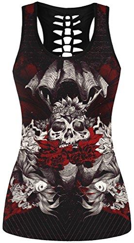 EmilyLe Femme Débardeur à imprimé tête de mort T-shirt Gothique Punk sans manche Caraco sport yoga jogging 09 L/XL