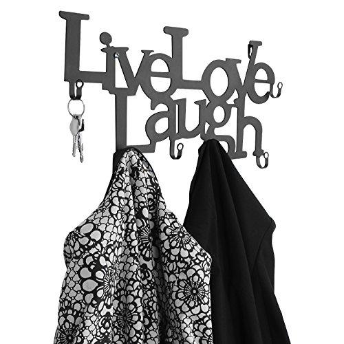 Miadomodo Wandgarderobe Türgarderobe Garderobenleiste Kleiderhaken Live, Love, Laugh - Design mit 6 Haken Garderobe