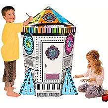 COOLDOT Casa de cartón con Forma de Cohete Casa de Juguete DIY Incluye Lápices para Niños