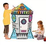 COOLDOT Casa de cartón con Forma de Cohete Casa de Juguete DIY Incluye Lápices para Niños Cartón...