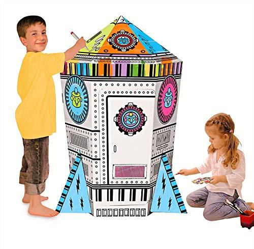 COOLDOT Casa de cartón con Forma de Cohete Casa de Juguete...