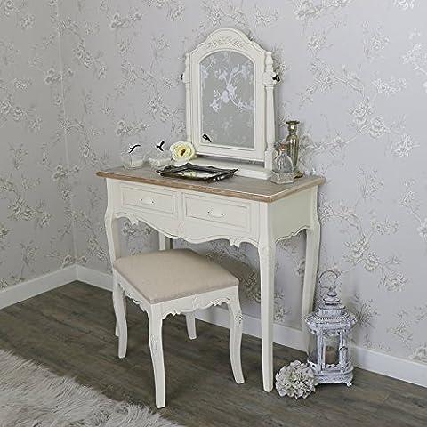 Crème Coiffeuse en bois, miroir pivotant et tabouret Ensemble de meubles de chambre à coucher–Gamme Country