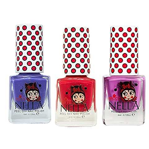 Miss Nella Little Poppet, Strawberry Cream, Sweet Lavender Special Glitter Kids Nail Polish with Peel-off Water Based Formula by MissNella
