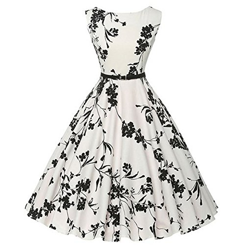 Valin VM126118D Vintage pin-up 50's robe de soirée,bal cocktail Rockabilly Swing,S-XXXXL Blanc