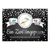 Große XXL Design Geburtskarte zur Geburt/Zwillinge / Klappkarte/mit Umschlag / A4 / Junge und Mädchen Rosa Blau/Baby geboren/Grußkarte zur Gratulation Eltern