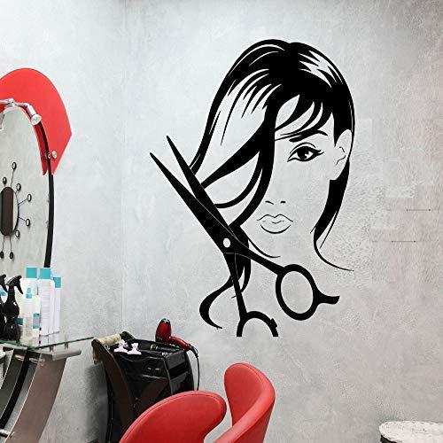 zqyjhkou Mädchen Schönheitssalon Wandtattoo Friseur Schere Cut Haar Vinyl Aufkleber Friseur Innen Abnehmbare Glamour Frau Diysyy461 42x52cm
