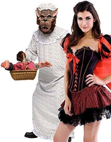 Paar Damen & Herren Rotkäppchen & Grosse schlechte Oma Wolf Märchen Alptraum Halloween Kostüm Party Verkleidung Outfit - Rot, Ladies UK 10 & Mens STD