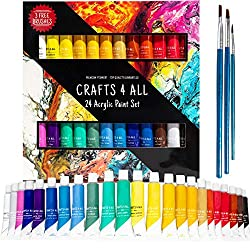 Acrylic paint 24 Set by Crafts 4 All® For Paper,canvas,wood,ceramic,fabric & crafts.Non toxic & Vibrant colors.Rich Pigments With Lasting Quality - For Beginners, Students & Professionals artist