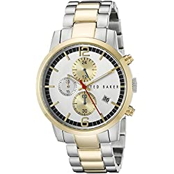 Ted Baker Men's 42mm Steel Bracelet & Case Quartz Silver-Tone Dial Chronograph Watch TE3065