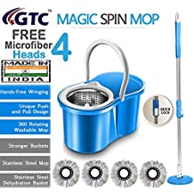 GTC Floor Cleaning Stainless Steel Dryer Bucket Mop with 4 Refills Color May Vary (Made in India)