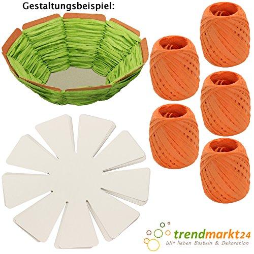 trendmarkt24 DIY Oster-Korb Kinder-Bastel-Set 10 Oster-Nester zum Flechten weiß Pappe/Papier 5X Papier-Kordeln orange Kinder-Oster-Nest-chen/Körbchen zum befüllen selber 2024511