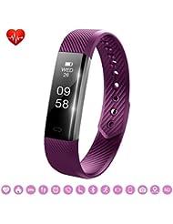 Bracelet Sport Activité Montre Connectée, NickSea Fitness Tracker d'Activité Bluetooth avec Cardiofréquencemètres, Podomètre, Distance, Calorie, Pour iPhone Android Smartphones - Violet (APP Gratuit)