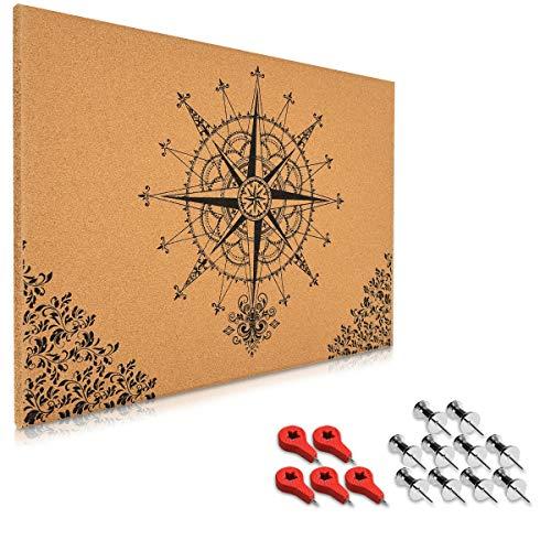 Navaris Kork Pinwand Memoboard Tafel - 70x50cm Pin Board Korkwand mit Stecknadeln Fahnen Montageset - Pinnwand Memo Korktafel - Kompass Barock Design -