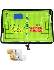 BizoeRade Tableau tactique pour entraîneur de football Classeur avec aimants/stylos/gomme/sifflets Produit professionnel Coach board