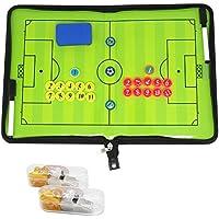 BizoeRade Fußball Taktikmappe Coach Board Coach Mappe für Professional Fußball Trainer mit Magnete, Stifte, Radiergummi, Pfeife