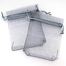 100X Bolsa Bolso de Organza Forma Rectángulo Color Gris Plata para Regalos