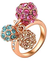 Yiwu Crystal MULTI COLOUR 18K ROSE GOLD METAL RING Fashion Jewellery For WOMEN